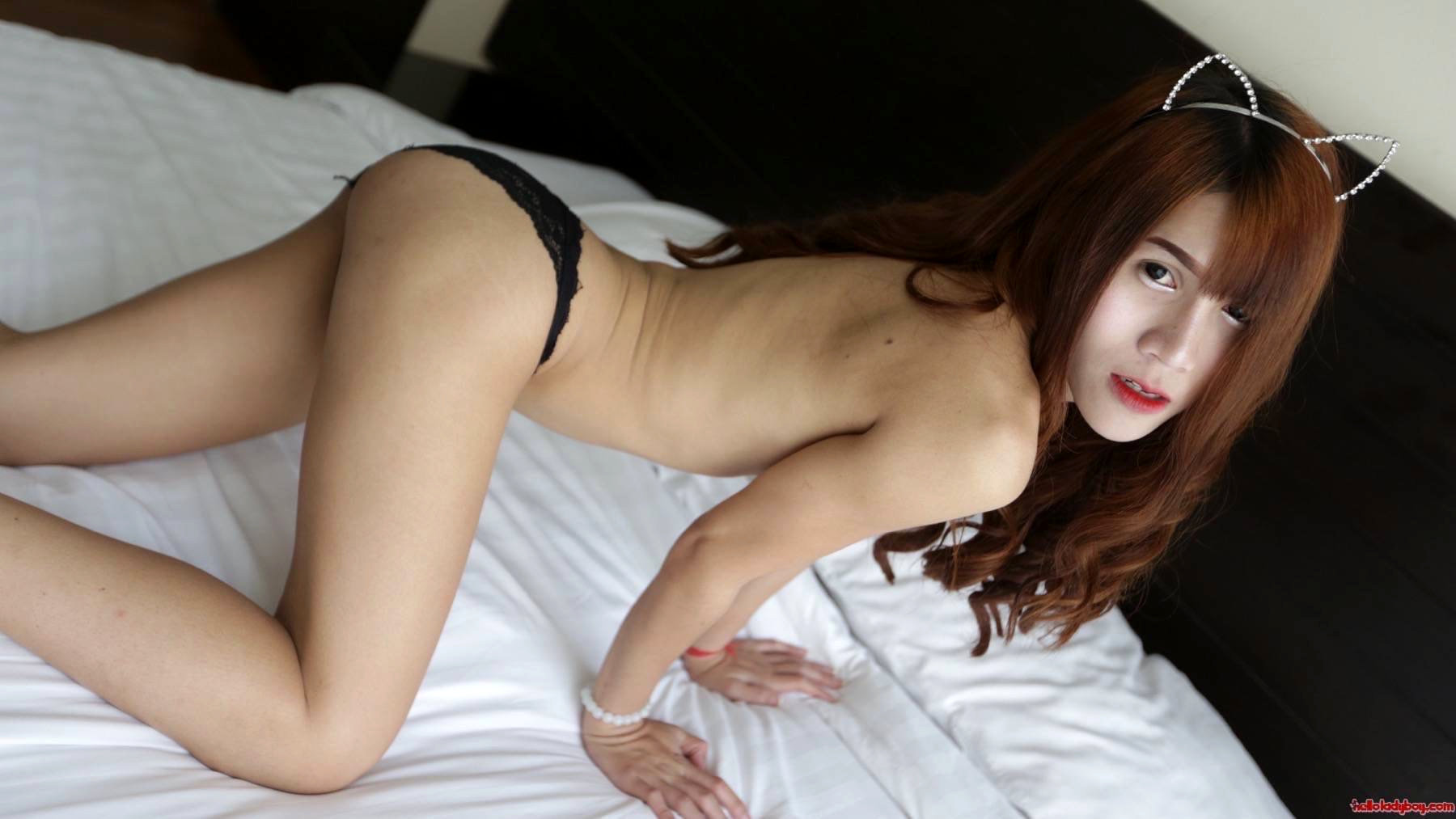 18 Year Old Nasty Asian T-Girl With Enormous Tits Does A Striptease