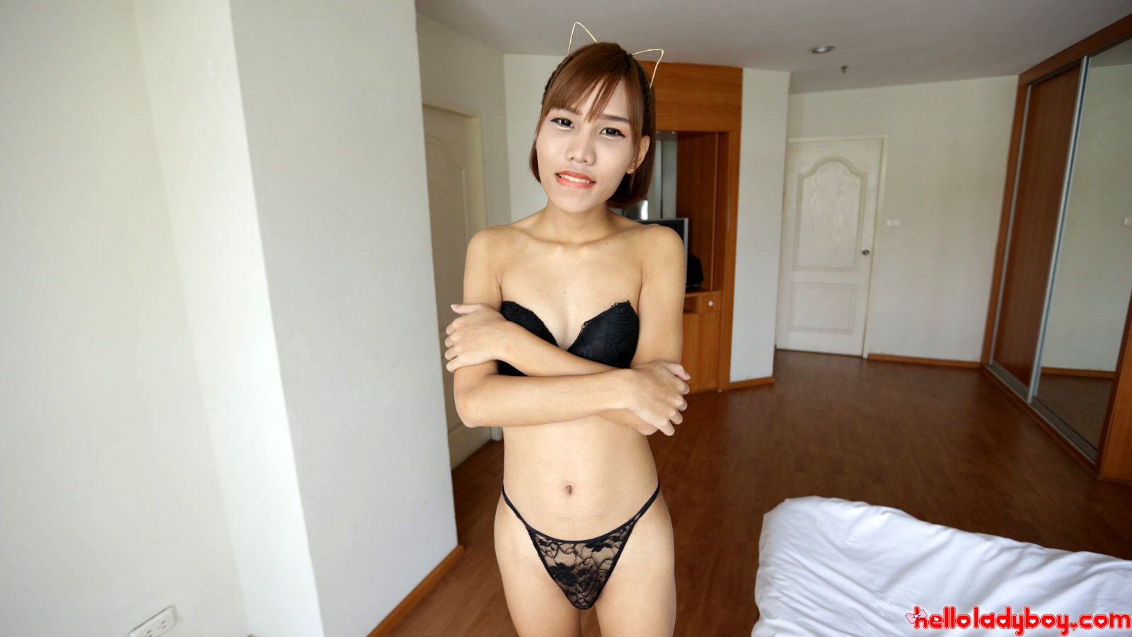 18 Year Old Naughty Asian T-Girl Striptease To Black Lingerie And Raw Penis