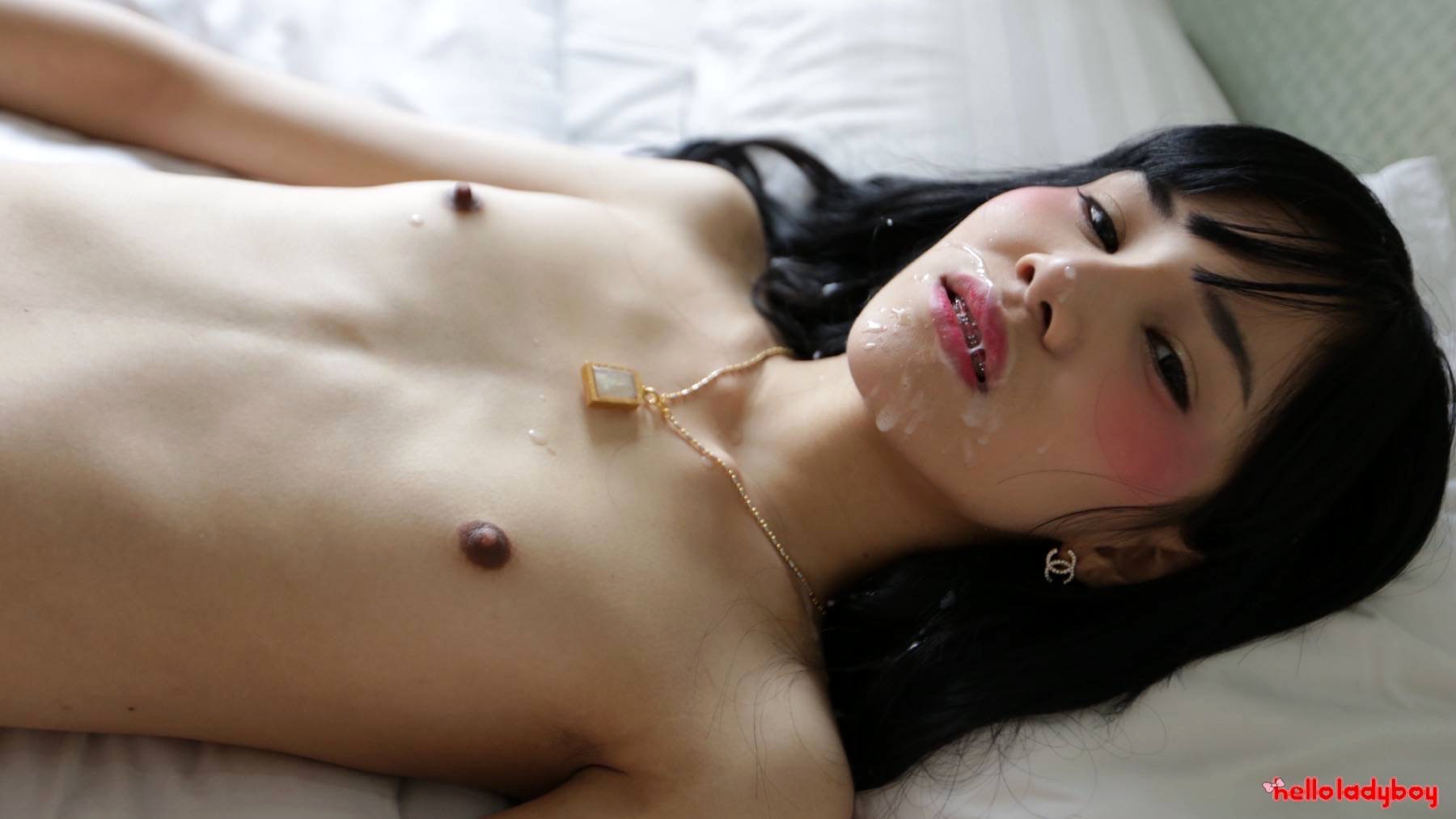 19 Year Old Asian Shemale Blowjob And Facial From White Tool