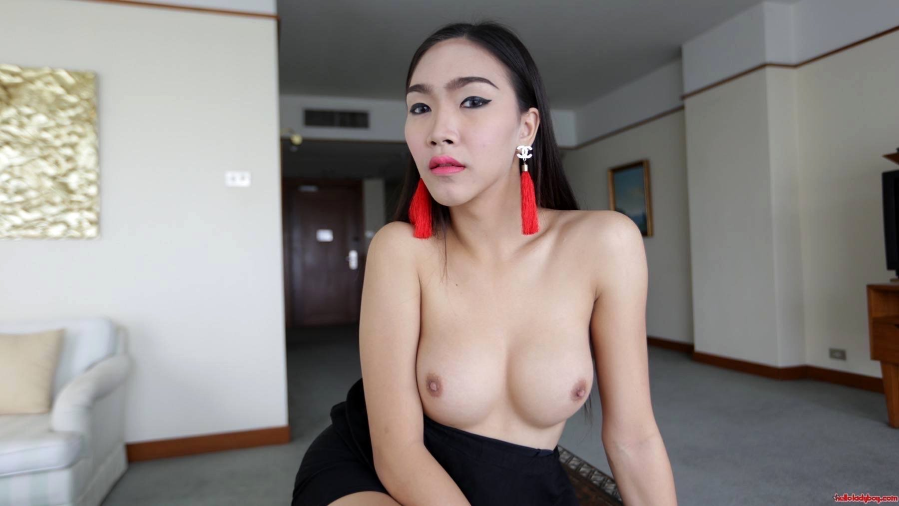 21 Year Old Busty Asian TGirl With Massive Penis Gets A Facial