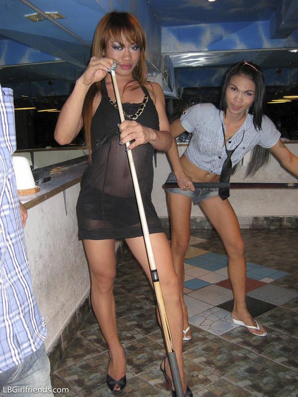 Cheeky Pool Playing Shemales At Pook Bar In Pattaya