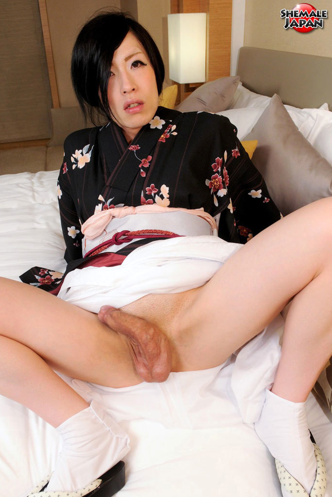 Renka Returns Today In Tradional Japanese Attire. This Nasty Newhalf Can't Wait To Lift Up Her Kimono And Give Her Fans An Eye Popping View Of That Delicious Rough She Cock! Stripping Down To Her Slim, Milky White, Birthday Suit She Rolls Over Onto He