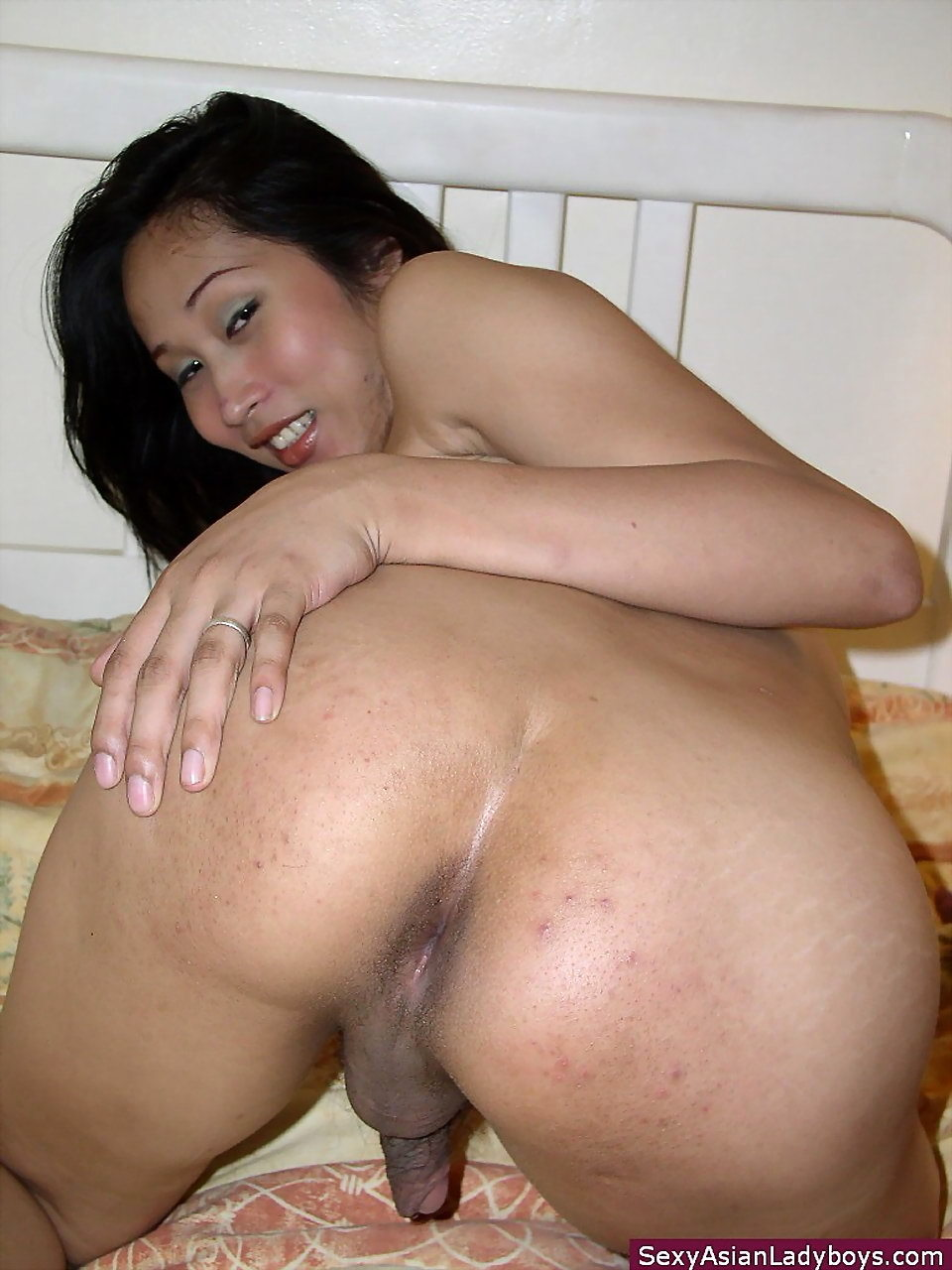 Shy Thai Tranny Offering Her Tight Brown Orifice
